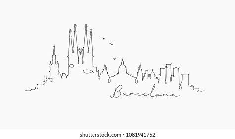 City silhouette barcelona in pen line style drawing with black lines on white background