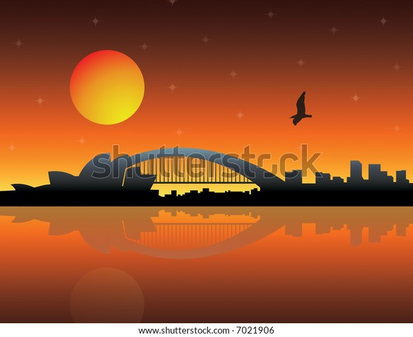 City silhouette over sunset background