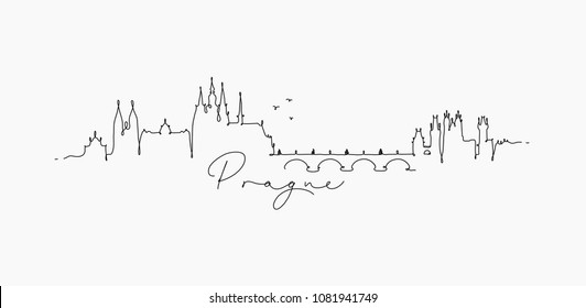 City silhouette prague in pen line style drawing with black lines on white background