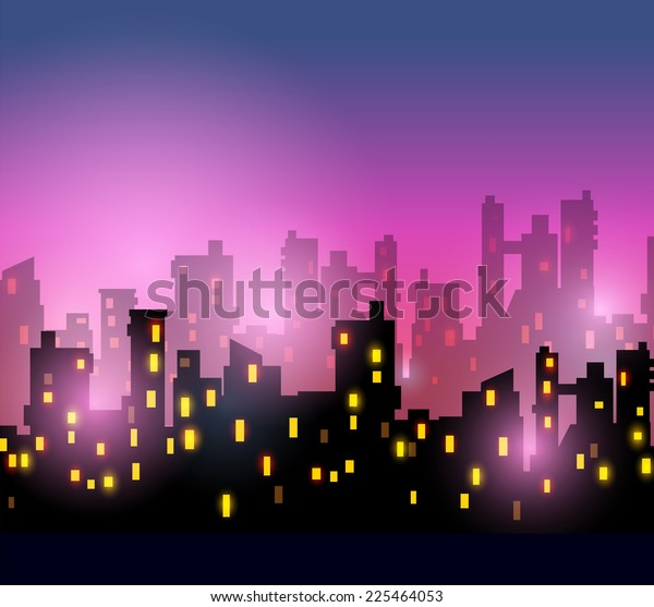 City silhouettes of different colors on red