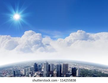 City skyline illustration/ modern city under blue sky