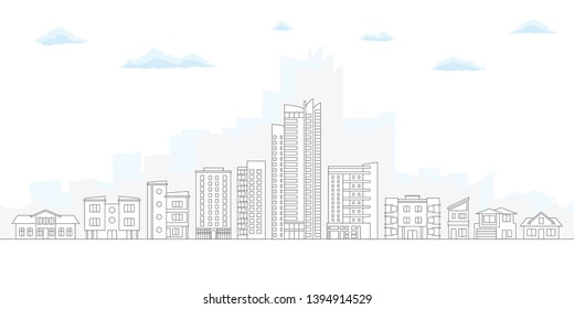 City Skyline. Outline Cityscape. Urban Landscape with Buildings and Houses. Thin line City Background.