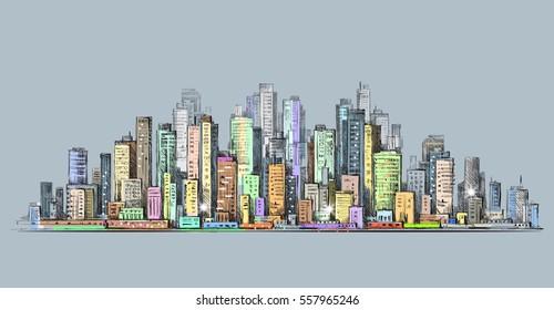 City skyline panorama, hand drawn cityscape
