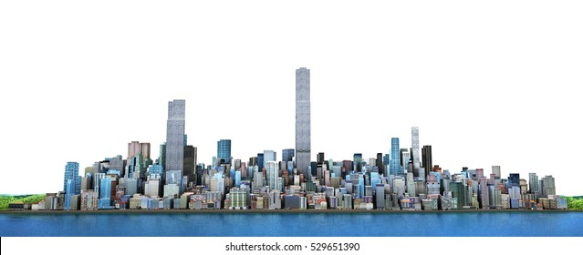 City skyline. View from sea to modern high-rise buildings. 3d illustration