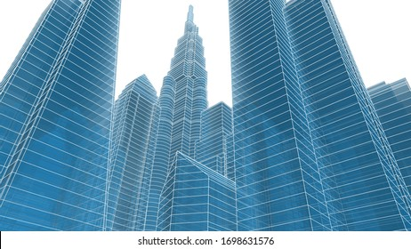 City skyscrapers, architecture 3d illustration