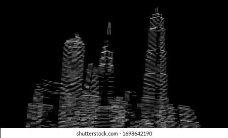 City skyscrapers, architecture 3d illustration