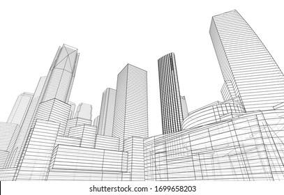 City skyscrapers sketch, architecture 3d illustration