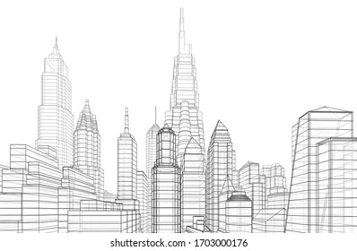 City skyscrapers sketch, architecture 3d illustration