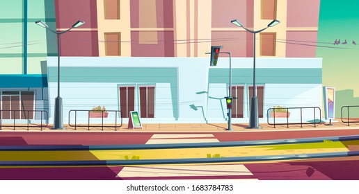 City street with car road and tram rails. cartoon cityscape of empty road with traffic light, pedestrian crosswalk and railway. Urban landscape with sidewalk, building and tramway track