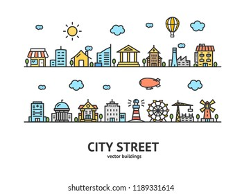 City Street House Building Outline Design Landscape Background Urban Architecture Exterior Facade Line. illustration of houses or different buildings