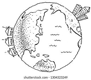 city and suburbs on a globe