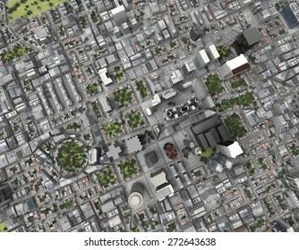 City top view rendering