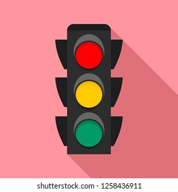 City traffic lights icon. Flat illustration of city traffic lights icon for web design