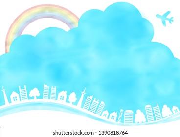 city tree building blue sky cloud rainbow water color