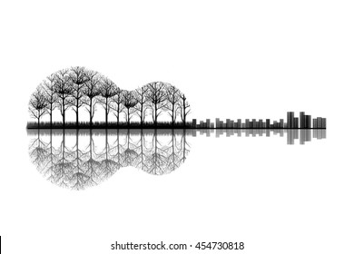 The City and Trees in a Shape of Guitar. Sketch Artwork, Creative Idea, Innovative art, Concept Illustration, Tattoo Design.