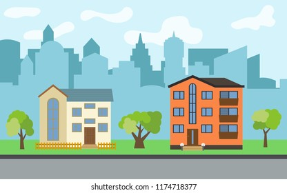 City with two-story and three-story cartoon houses and green trees in the sunny day. Summer urban landscape. Street view with cityscape on a background