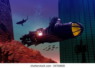 City under the sea, a diver works on the hull of a submarine as a killer shark circles. Illustration