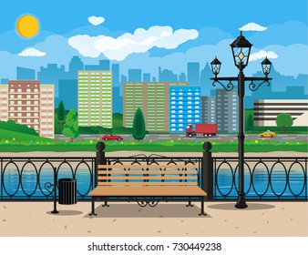 City view. Cityscape. Bench, lamp. Residental buildings. Road, truck, cars. Public transportation system. Waterfront, river embankment Clouds sky and sun illustration in flat style