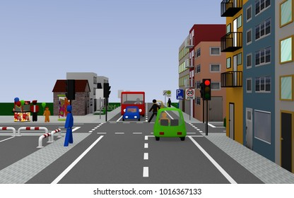 City view with traffic light junction and signs, zone 20, school bus stop with german text: school bus working days, parking on the walkway allowed, and end zone 20. 3d rendering