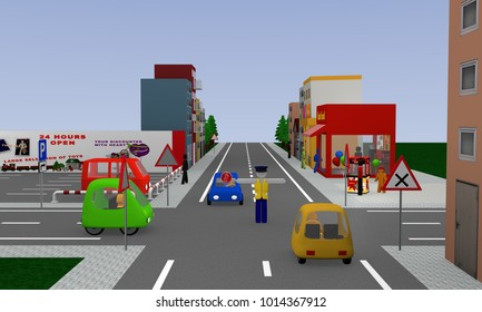 City view with traffic situation: Traffic control by a policeman, stop. 3d rendering
