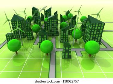 city windmill powered concept illustration