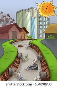 city without a drain care, a river too much polluted