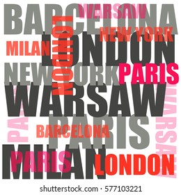 city words cloud poster, warsaw, new york, london, barcelona, paris.