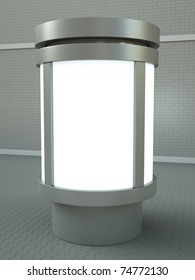 Citylight advertising pillar. 3D render.