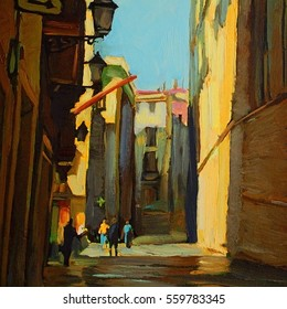 cityscape barcelona, spain, oil painting on canvas, illustration