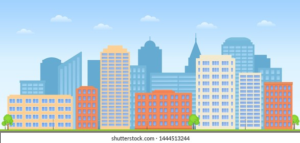 Cityscape.  Buildings city background. Street skyline. Urban landscape. Skyscraper in flat design. Town exterior. Cartoon illustration. Modern business houses and offices. Horizontal banner.