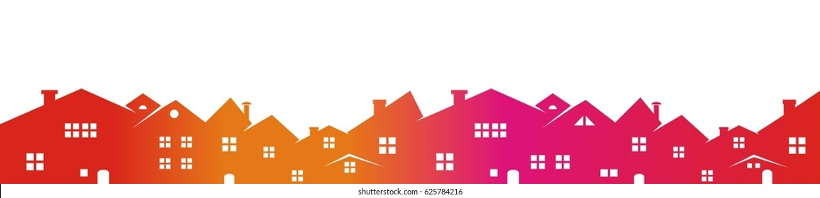 Cityscape, colored silhouette