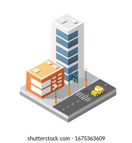 Cityscape design elements with isometric building city map 3D illustration