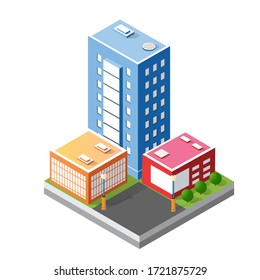 Cityscape design elements with isometric building city map for creating 3D illustration