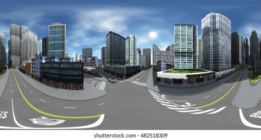 Cityscape. Environment map. HDRI map. Equirectangular projection. Spherical panorama. 3d rendering