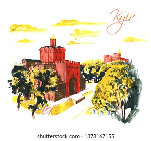 Cityscape of Golden Gate, Yaroslaviv Val Street, Kyiv, Ukraine. Super big size resolutions hand drawn gouache illustration of famous Kyiv tourist place. Good for vector tracing