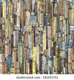 Cityscape. Hand drawn illustration. Raster version
