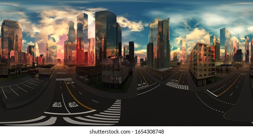 cityscape, HDRI, environment map , Round panorama, spherical panorama, equidistant projection, panorama 360, 3d rendering