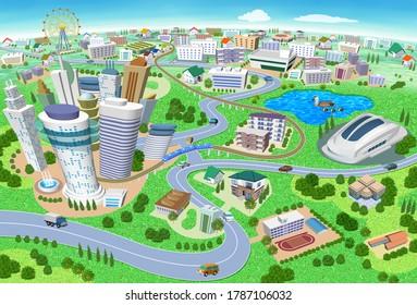 学校やスタジアムの3Dイラストを使った家や建物の都市景観