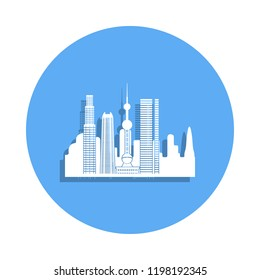 cityscape icon in badge style. One of Cityscape collection icon can be used for UI, UX