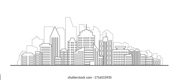 Cityscape Illustration. Urban skyline with skyscrapers and tall buildings