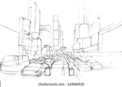 Cityscape pencil drawing
