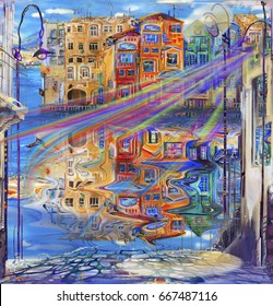 Cityscape reflection in water and surreal rainbow wind