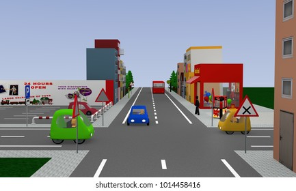 Cityscape with right before left intersection, colorful cars and street signs. 3d rendering
