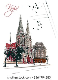 Cityscape of St. Nicholas Roman Catholic Cathedral, Kiev, Ukraine. Super big size resolutions hand drawn gouache illustration of famous Kyiv tourist place. Good for vector tracing