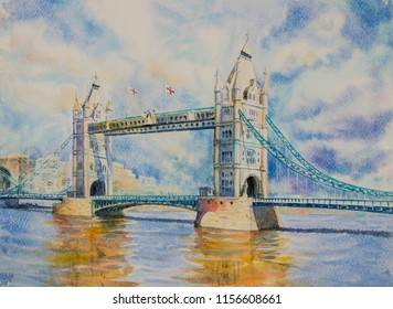 Cityscape view of London and the river thames, London tower bridge, England, United Kingdom. Watercolor painting illustration landscape beautiful view. Landmark, business city, popular location