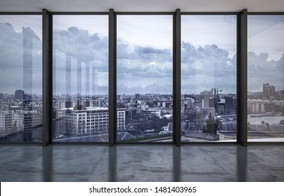 Cityscape viewed through floor to ceiling windows with a reflective grey floor in evening light. 3d rendering
