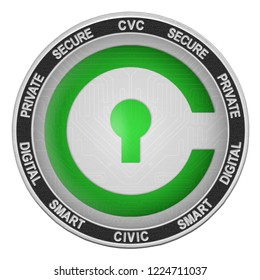 Civic (CVC) coin isolated on white background; civic cryptocurrency