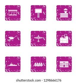 Civic icons set. Grunge set of 9 civic icons for web isolated on white background