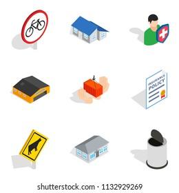 Civic icons set. Isometric set of 9 civic icons for web isolated on white background