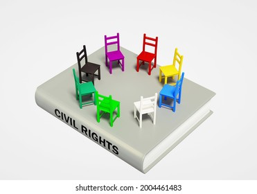 Civil Rights symbol of a book with different color chairs in a circle to convey equality, tolerance, understanding and respect for all. 3d concept illustration.